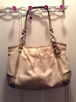 beige coach leather bag - $75