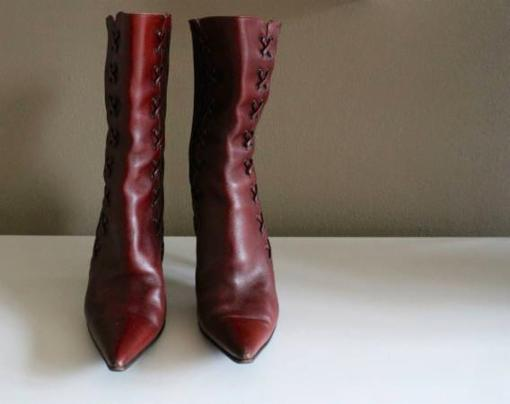 Sebastian Milano Burgundy Lace Detail Leather High Heeled Boots Sz 6 - $155