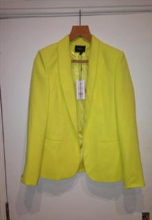 Vivid Bright Neon Yellow Blazer with Silver Metallic Buttons