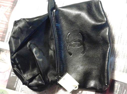CHANEL black leather bag - $50