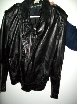 Dolce & Gabanna blk leather coat sz 4 /6 biker style - $50