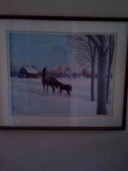 Framed Horse Painting - $20