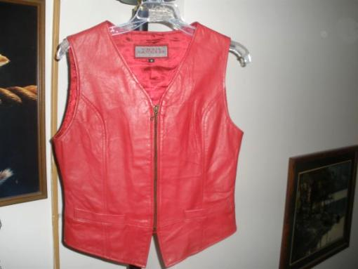 WOMENS RED LEATHER VEST - $60