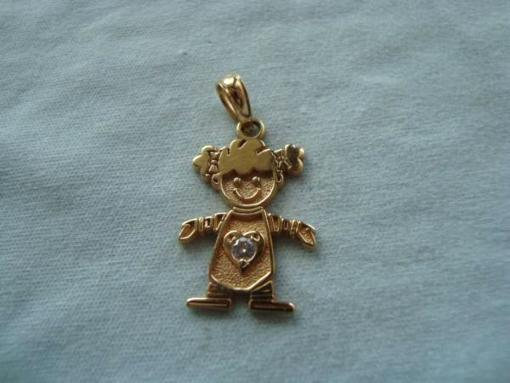 14k Diamond Girl Pendant - $100