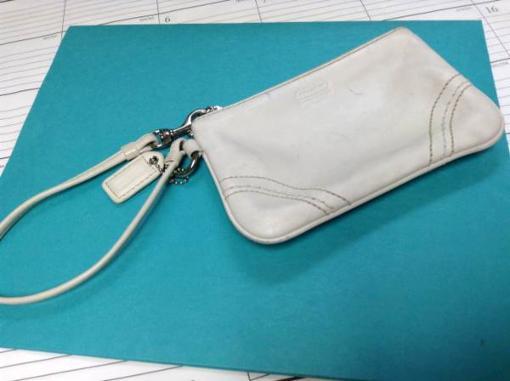 white coach leather wristlet - $25