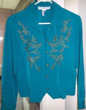 Attractive blouse with metallic embroidery Size 8 - $35