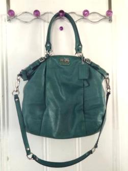 green coach handle bag - $100