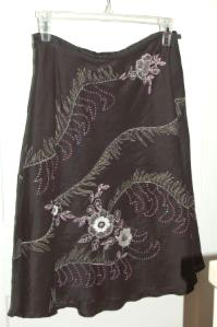 Ann Taylor Black Linen skirt with embrodery and beading - $10