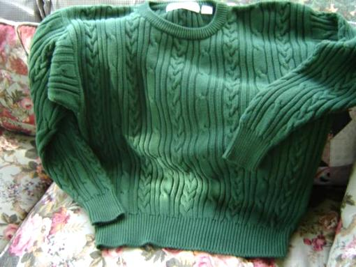 Man's Green Cable Sweater - $25