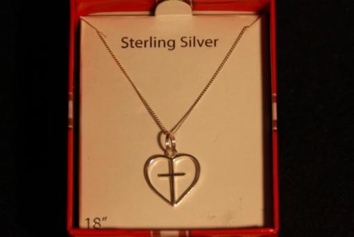 Sterling Silver: Cross in Heart Pendant- 18in necklace - $59