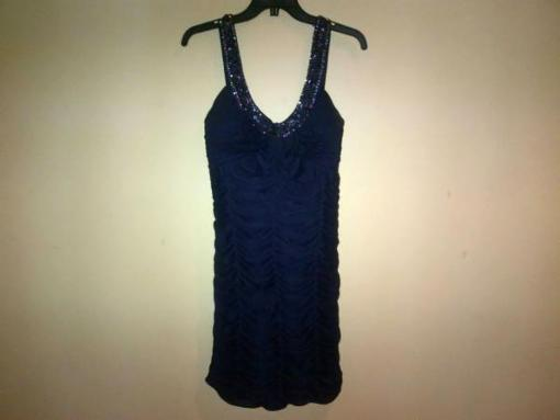 Lord & Taylor Navy Blue Ruched Chiffon Dress with Gems - Size 12 - $50