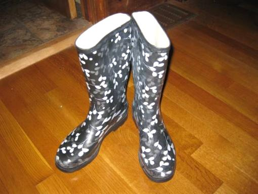 Black and white Rain boots - $6