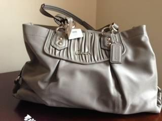 NWT Coach Ashley Gathered Leather Carryall Handbag Slate Gray F19425 M - $200