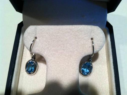 Faceted Blue Topaz 14 kt White Gold Drop Earrings - $95