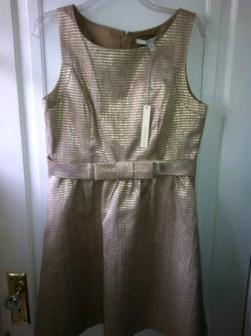 Great Deal!New with tags. Gorgeous gold tone party dress size 12 - $30