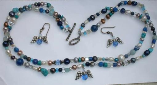Turquoise/Pearl Necklace and Earring Set - $45