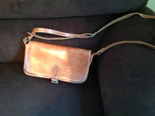 All Cow Hide Leather Bag - $10