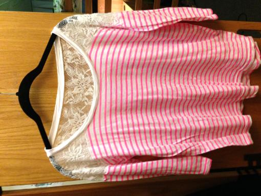 Pink Striped Lace Blouse